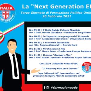 """Terza Giornata di Formazione UdC: """"La Next Generation EU"""""""